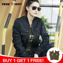 купить Black Jacket Women Pockets Casual Motorcycle Jackets Women Autumn Green Coat Rip Sleeve Bomber Jacket Female Outerwear Coats дешево