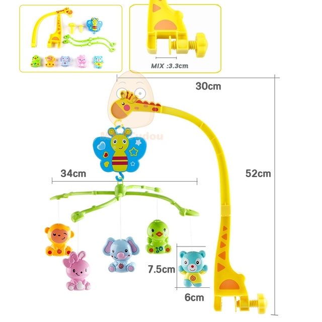 4 in 1Musical Crib Mobile Bed Bell Kawaii Animal Baby Rattle