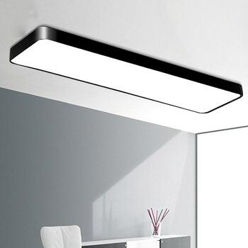 מודרני תמציתי משרד מלבני Led תקרת מנורת שחור ברזל אהיל אור לחיים מחקר חדר