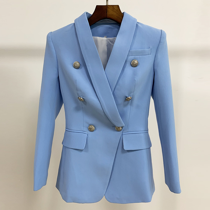 EXCELLENT QUALITY 2020 Stylish Blazer For Women Ladies Silver Lion Buttons Double Breasted Career Blazer Jacket