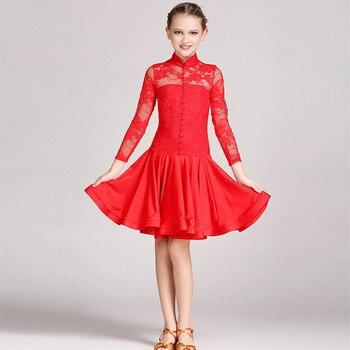new lace latin dress for girls dance costume children salsa tango rumba costumes high quality