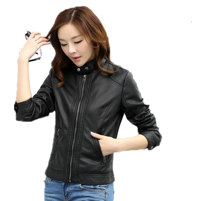 d353c5a38 US $142.37 37% OFF|2018 Black Pimkie Faux Pu Motorcycle Coat Leather  Jackets Coats Winter Outerwear Leather Jacket Women Winter Chaqueta Pu  Mujer-in ...