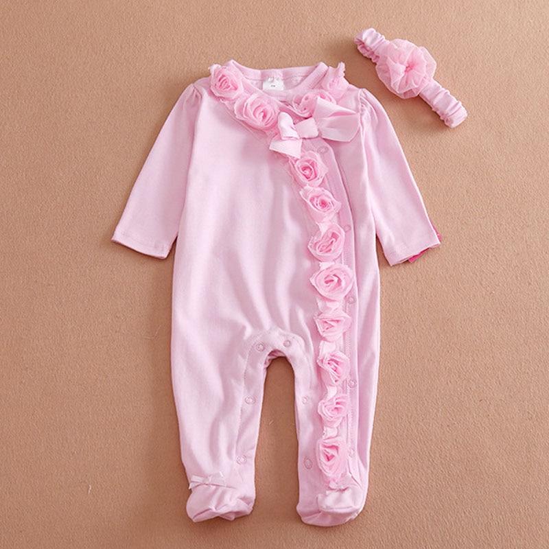 Abbigliamento per bambini Estate Del Bambino di Stile Delle Ragazze Dei Ragazzi Vestiti T-Shirt Pantaloni Siamesi + Fascia del Cotone Fiori decorazione Cuit Bambini Set