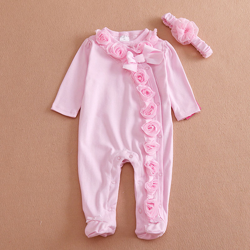 Kids Clothing Summer Style Baby Boys Girls Clothes T-shirt Pants Conjoined+Headband Cotton Flowers decoration Cuit Children Set
