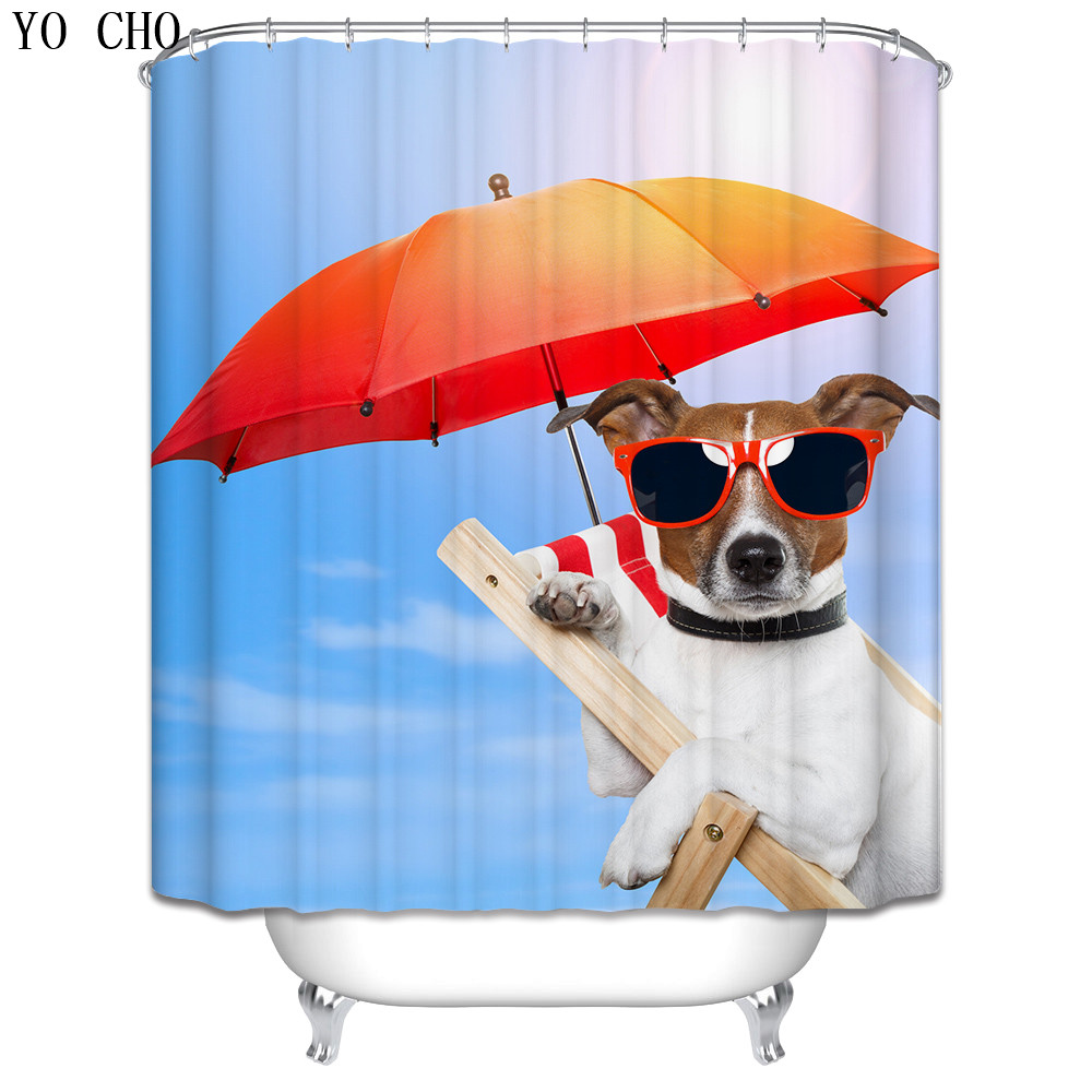 Dog Christmas Shower Curtain anime bath curtain polyester Fabric ...