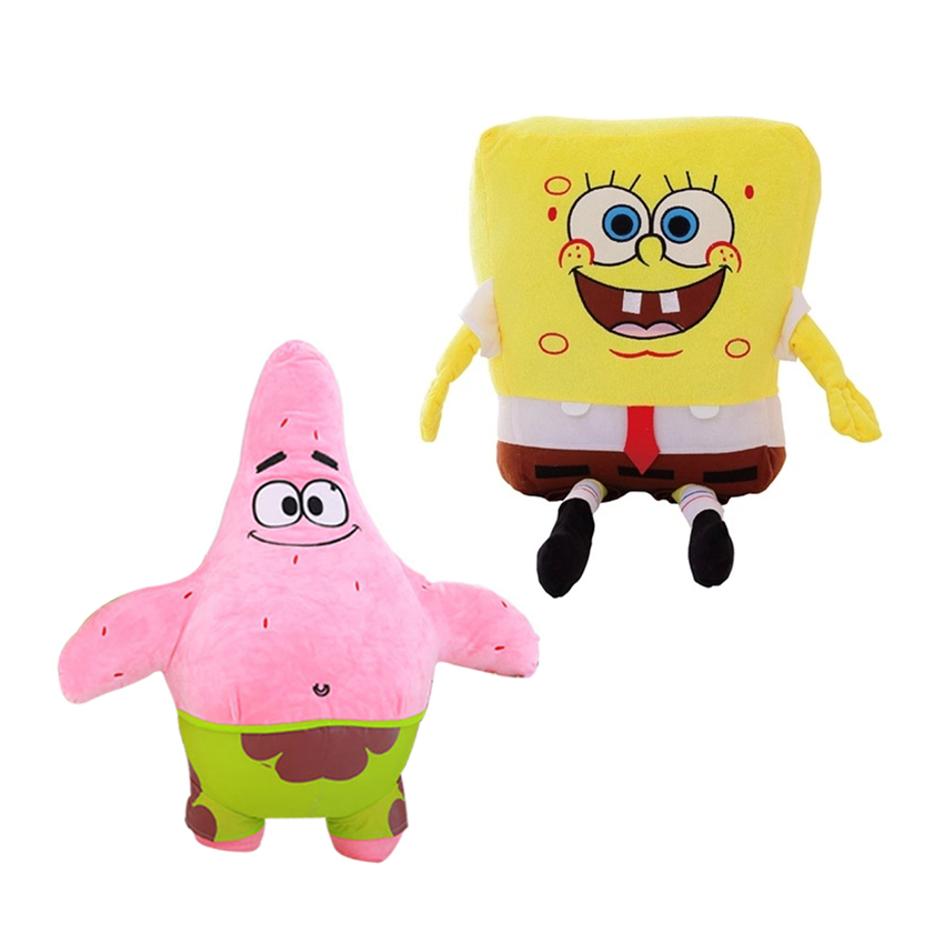 Promotion 2pcs/lot 23cm Cartoon Animal Doll Toy Stuffed And Plush Toys SpongeBob And Patrick Star Plush Doll Toy High Quality