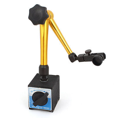 цена на Black Gold Tone Magnetic Switch Bass Holder Stand For Dial Test Gauge Indicator
