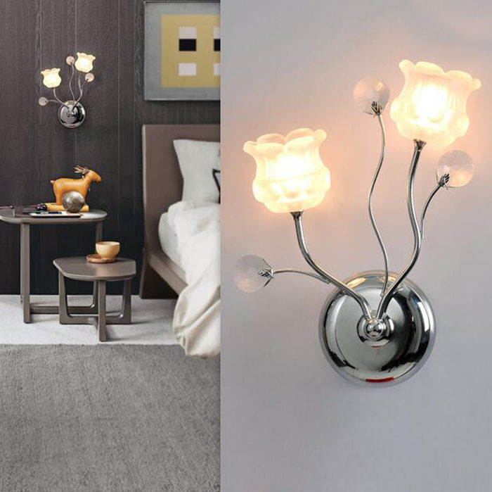 ZYY Modern Simple Crystal LED Wall Light Aisle Corridor Wall Lamp Bedroom Bedside Light Flower Shape Indoor Lighting Fixtures acrylic snowflake modern simple led wall lamp novel metal bedside lamp wall light fixtures for bedroom aisle bar indoor lighting