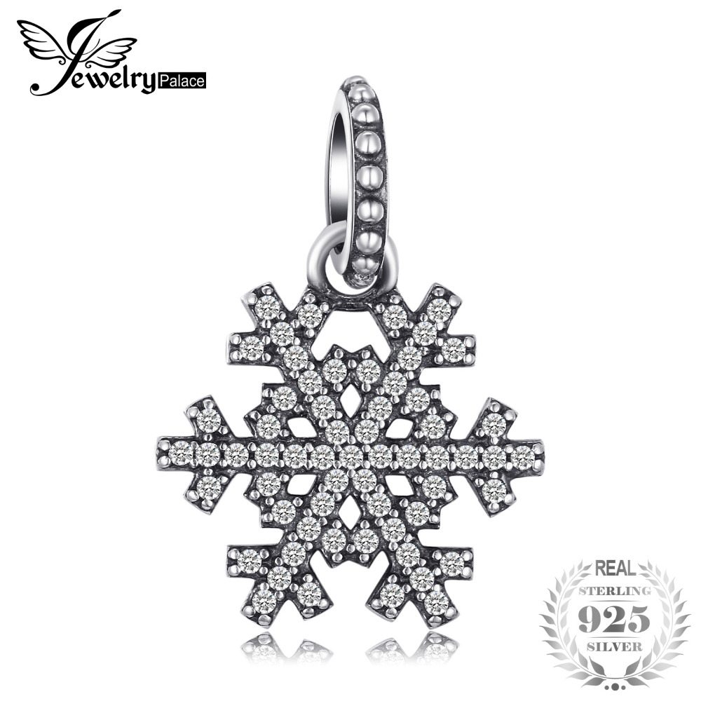 Jewelrypalace 925 Sterling Silver Christmas Openwork Snowflake Pave Cubic Zirconia Beads Charms Fit Bracelets Gifts For Women