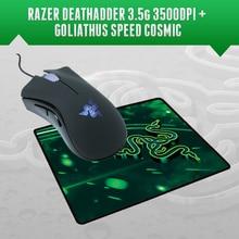 Mouse gamer + mousepad da razor, deathadder 3500 dpi + goliathus speed cosmic edition 270mm x 215mm x 3mm, frete grátis, frete grátis