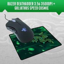 Razer deathadder 3500 dpi gaming mouse + razer goliathus speed cosmic editie mousepad 270mm x 215mm x 3mm, gratis Verzending