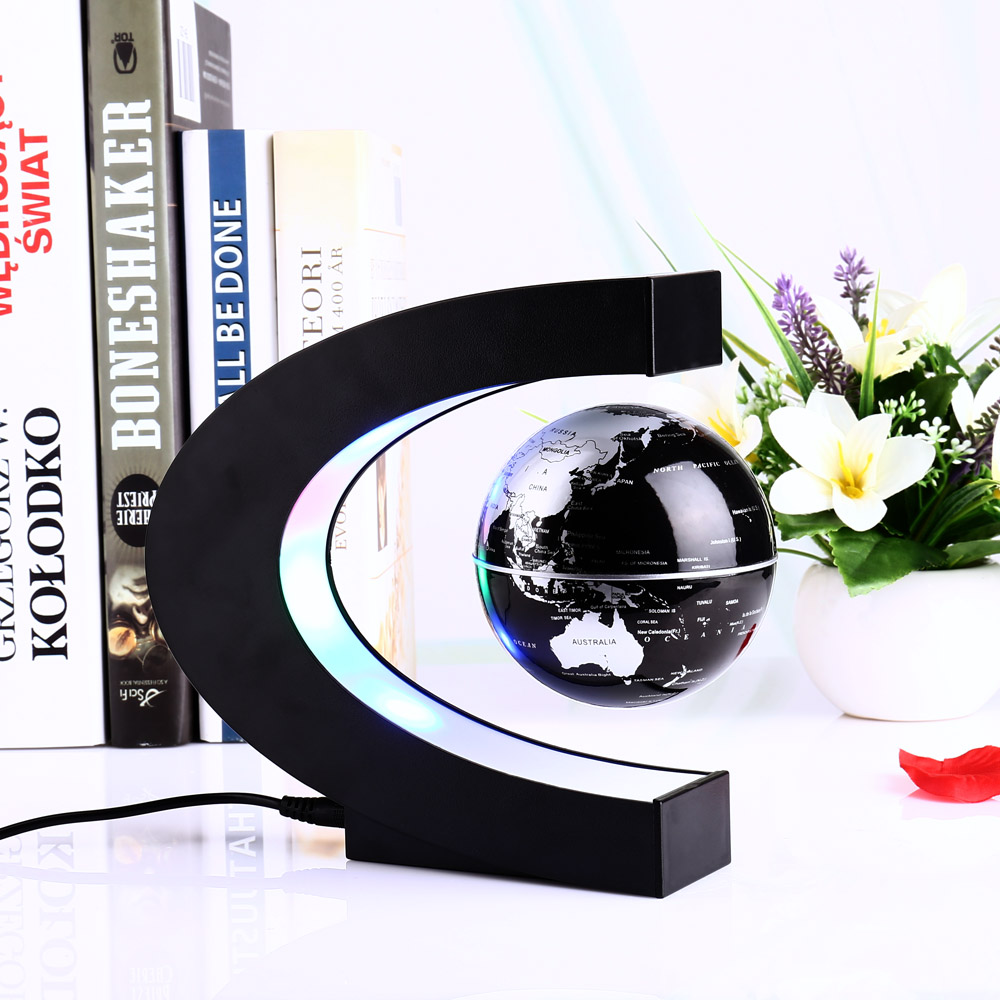 New arrive 4 inch C Shape Electronic Magnetic Levitation Floating Globe World Map with LED Lights Birthday Gift Decoration Home diy scratch globe 3d stereo assembly globe world map travel kid child toy gift