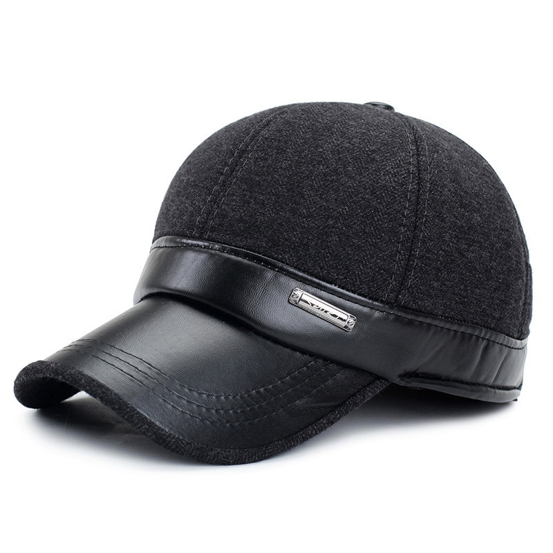 Male Winter Hat Quinquagenarian Outdoor Cap Faux Leather Man Warm Hats Windproof Thermal Visor