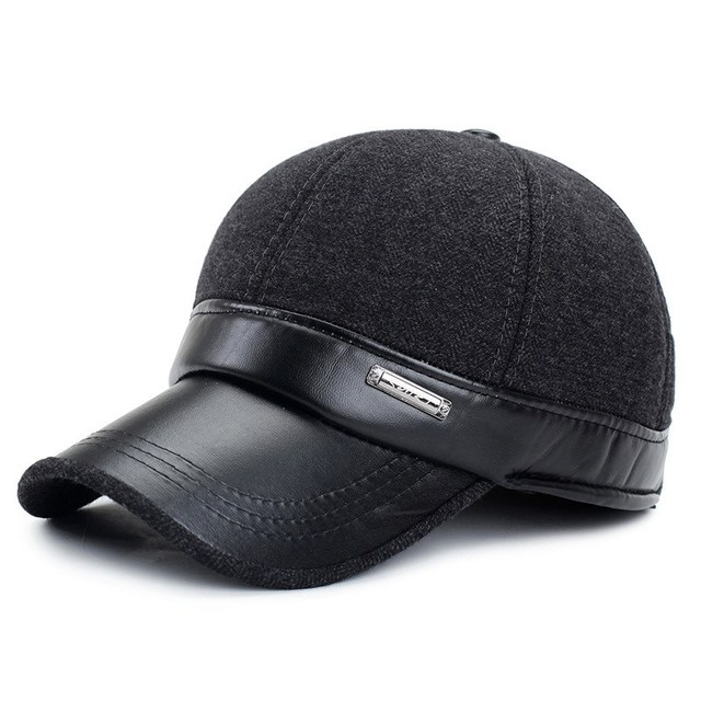 Male Winter Hat Quinquagenarian Outdoor Winter Cap Faux Leather Man Warm Hats Windproof Thermal Thermal Visor