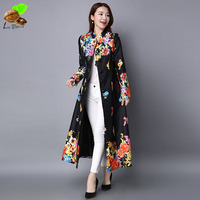 Women Autumn and Winter Vintage Print Slim Embroidery Flower Plus Size Cardigan Mori Chinese National Style Trench Outerwear
