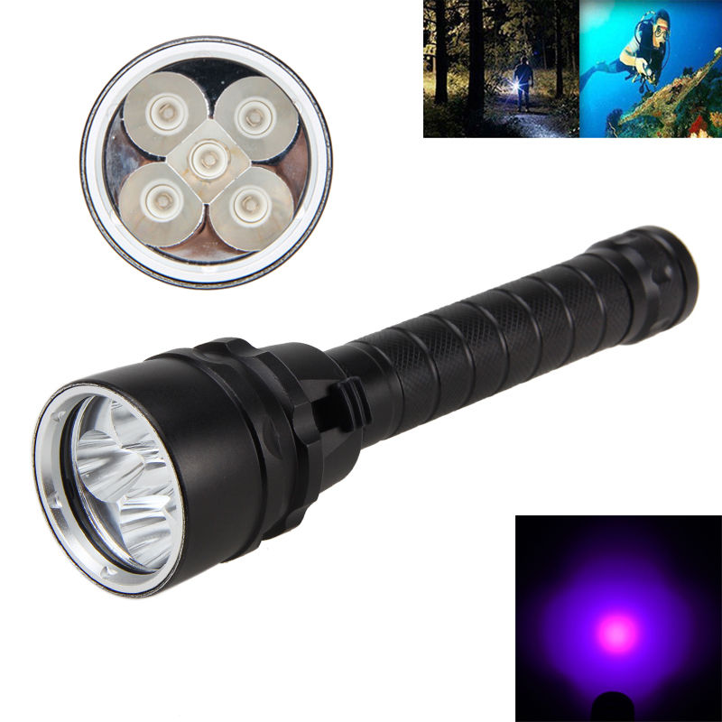 Underwater 100m Diving Flashlight 2500Lm LED 18650 5X UV Waterproof Flash Light Torches Lantern For Fish Camp 365nm-395nm цена 2017
