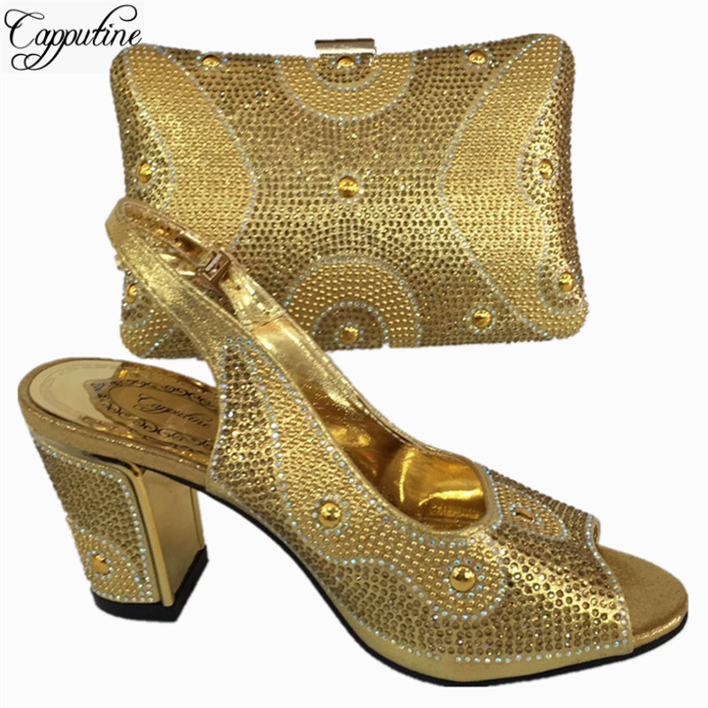 Capputine Newest Nigerian Wedding Shoes And Bag Italian Style High Heels Shoes And Bag Sets For Party 6Colors On Sale BL765C capputine hot selling african woman shoes and bags set italian style high heels shoes and bag sets for dress size 37 42 bl765c