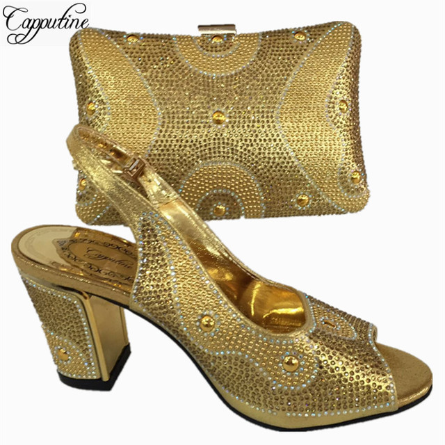 Capputine Newest Nigerian Wedding Shoes And Bag Italian Style High Heels  Shoes And Bag Sets For Party 6Colors On Sale BL765C ef44cae53c6b