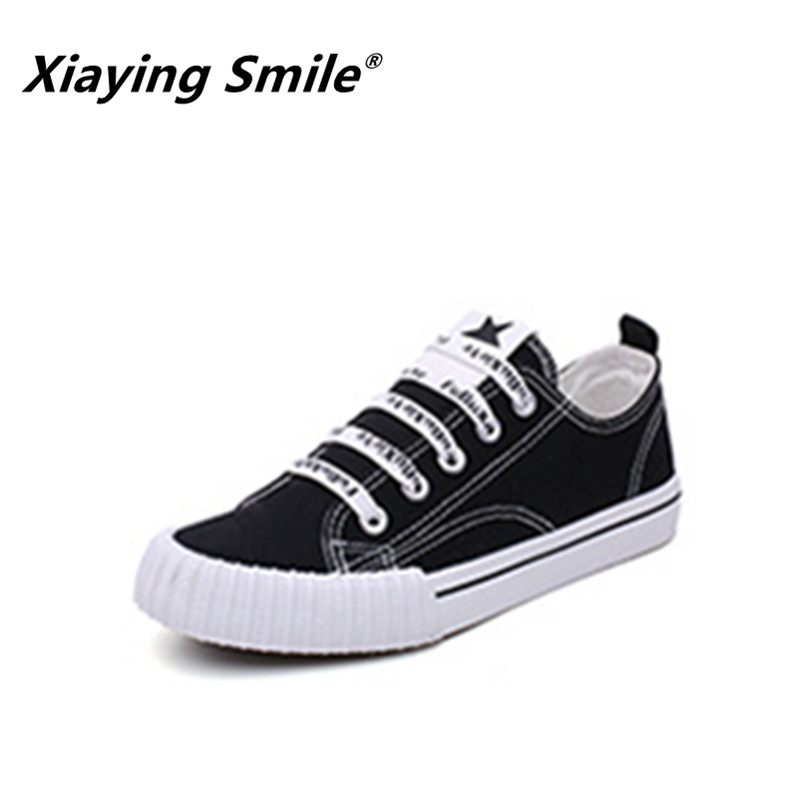 Xiaying Smile Shoes Women 2018 Sewing Canvas Shoes Female Spring/Summer/Autumn Casual Shoes Woman Students Harajuku Flats Shoes