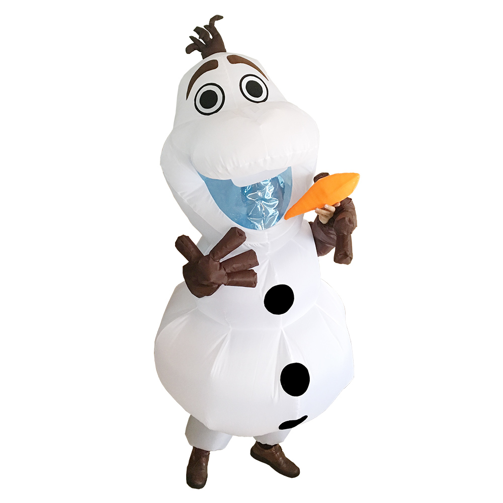 Olaf Inflatable Costume for Adult Women Men Halloween Christmas Party Carnival Cosplay Fancy Dress Snowman Blow Up Suit Mascot