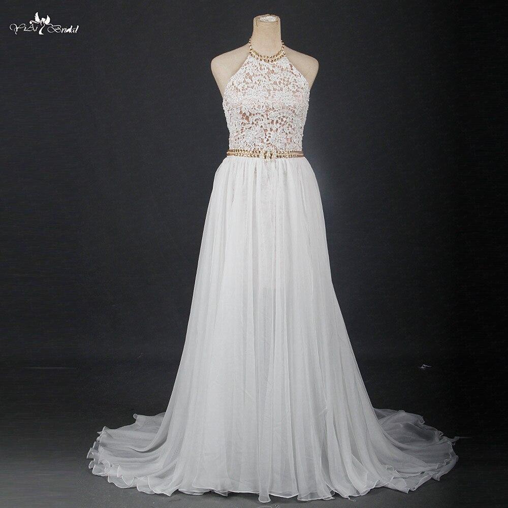 RSW1210 Halter Neckline High Low Skirt Flowing Chiffon Vestido De Noiva Chic Boho Wedding Dress