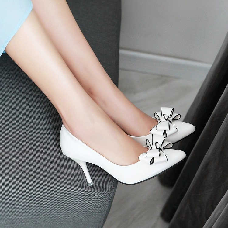 ФОТО Small single shoes 31 32 33 high-heeled shoes heels thin plus size women's shoes 41 - 43 pointed toe white 40 free shipping
