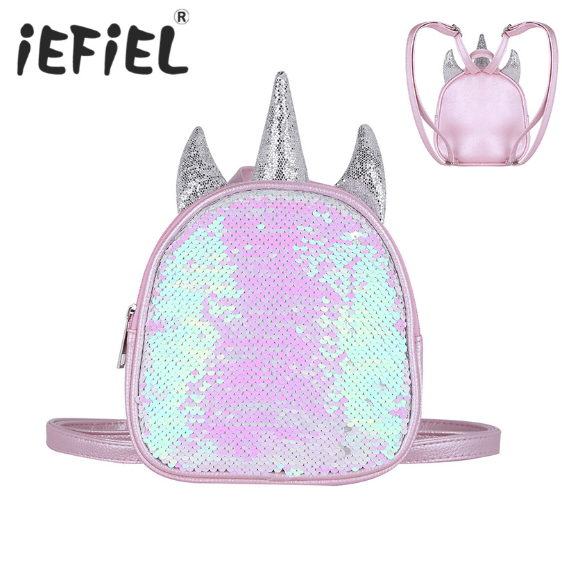 Little Kids Gilrs Dazzling Glittery Sequins Mini Backpack Little Daypack Shoulder Travel Bag Schoolbag Satchel for Daily Wear