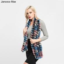 Jancoco Max 2017 Real Rex Rabbit Fur Scarf Fashion Style Multicolor Muffler Top Quality Female Winter Shawls S7109