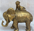 China Chinese Brass Huis Fortuin Fengshui Zodiak Jaar Aap Op Olifant