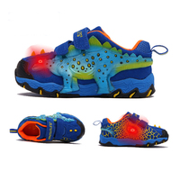 ba1ca0f17fd739 ... Leather Luminous Sneakers Kids Glowing Sneakers Light Up LED Shoes Boys 3D  Dinosaur Flashing. Zapatillas de deporte luminosas cuero genuino para niños  ...