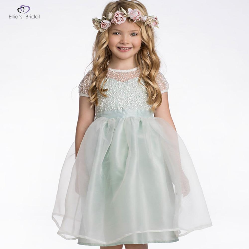 Ellies Bridal New Mint Lace Flower Girl Dress Kids Bow Organza Wedding Dress First Communion Dress Princess Party Birthday Dress свадебное платье bridal wedding dress vestido organza wedding dress