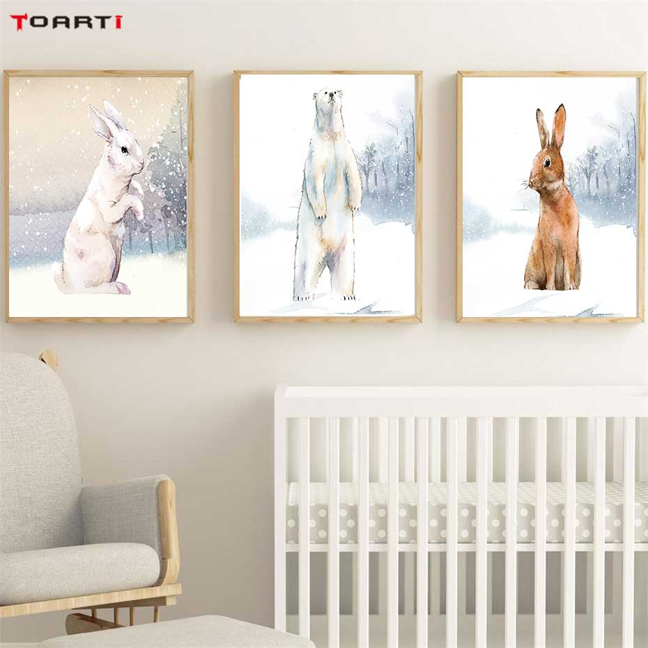 Modern Snowfield Cartoon Animals Prints Posters Wall Art Rabbits Polar Bears Canvas Painting For Kids Nursery Bedroom Home Decor-in Painting & Calligraphy from Home & Garden