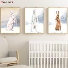 Nowoczesne Snowfield zwierzęta kreskówkowe drukuje plakaty Wall Art króliki niedźwiedzie polarne malarstwo na płótnie dla dzieci przedszkole sypialnia Home Decor