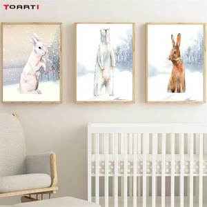 Image 1 - 현대 snowfield 만화 동물 인쇄, 벽 예술 토끼 북극곰 캔버스 회화 어린이 보육 침실 홈 장식