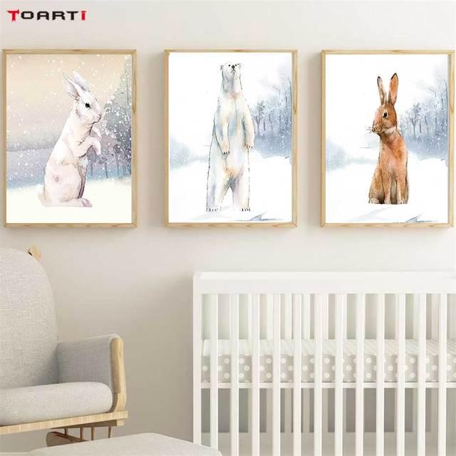 현대 snowfield 만화 동물 인쇄, 벽 예술 토끼 북극곰 캔버스 회화 어린이 보육 침실 홈 장식