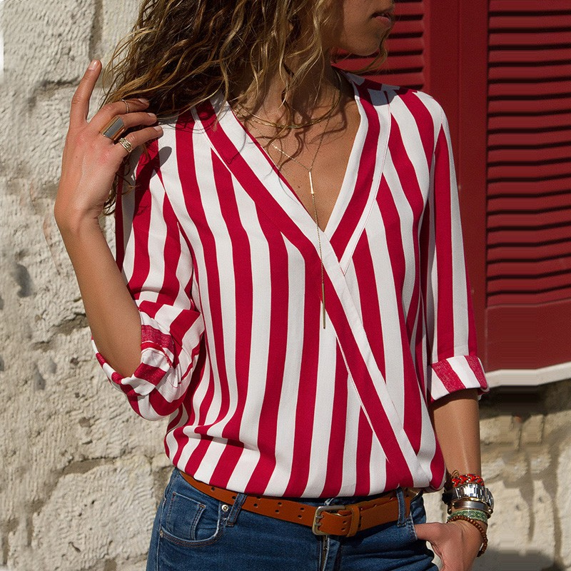 DeRuiLaDy 2018 Fashion Autumn Winter Long Sleeve   Blouse     Shirt   Women Sexy V Neck Striped Loose Cross   Blouses   Female Casual Tops