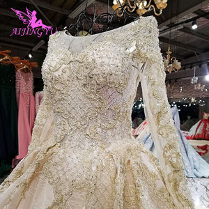 Image 2 - AIJINGYU White Bride Dress Lustrous Satin Gowns Train Indian Jumpsuit Tulle Online Designer Puffy Lace Gown Wedding Dresses In