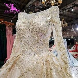 Image 2 - AIJINGYU robe de mariée blanche brillant Satin robes Train combinaison indienne Tulle en ligne Designer bouffante dentelle robe robes de mariée en