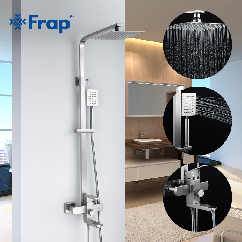 FRAP Shower System Top quality faucet bathroom shower faucet mixer set bath shower mixer system contemporary stainless steel    FRAP Shower System Top quality faucet bathroom shower faucet mixer set bath shower mixer system contemporary stainless steel