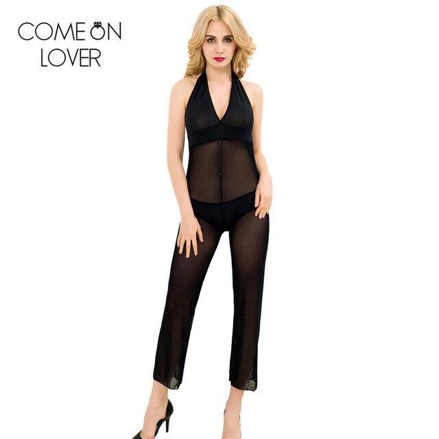 RE80243 Comeonlover Новая мода полная длина шифон свободные брюки удобные платья тела купальники холтер шеи sexy боди