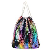 2019 New Women Sequin Drawstring Backpack Glitter Shoulder Bag Shopping Travel Bags Rucksacks