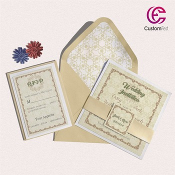 30pcs/lot color old school classic design with personalized liner envelop pink and gold  invitation and RSVP  set  L202S044