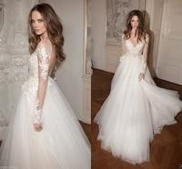 Appliques Lace Wedding Dresses Long Sleeve Berta Bridal Gowns Custom Size 4 26+