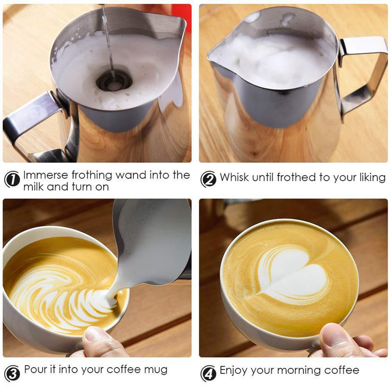 USB Chargeable Electric Milk Frother with Double/Single Spring Whisk Head for Milk and Coffee 4