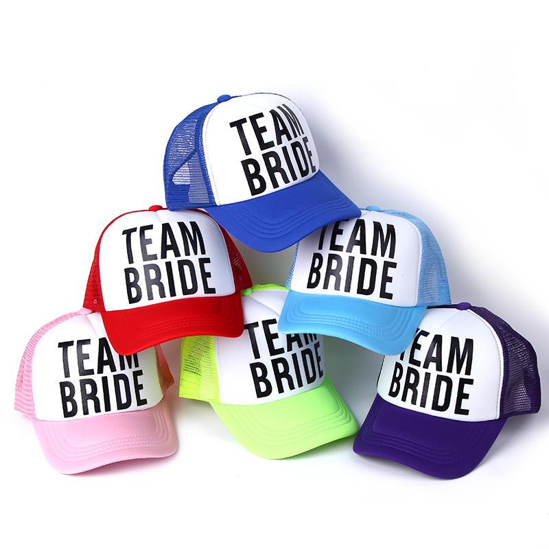 2017 new BRIDE TO BE TEAM BRIDE Bachelorette Hats Women Wedding Preparewear Trucker Caps White Neon Summer Mesh Free Shipping