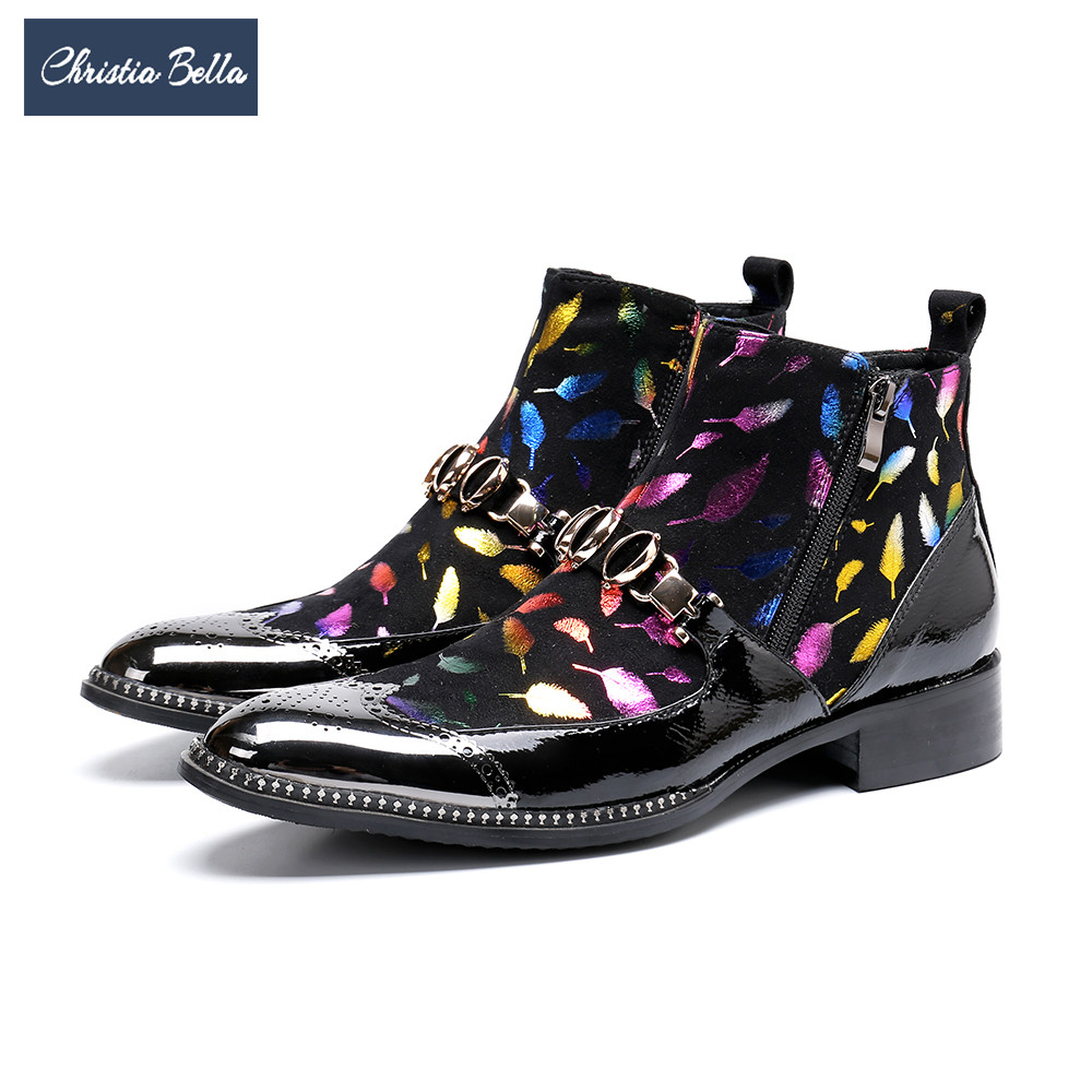 Männer Partei Leder Schuhe Kurze Echte Hochzeit Große Stiefel Christia Formale Ankle Bella Mehrfach Bullock Größe Mode Kleid xpnqvIE