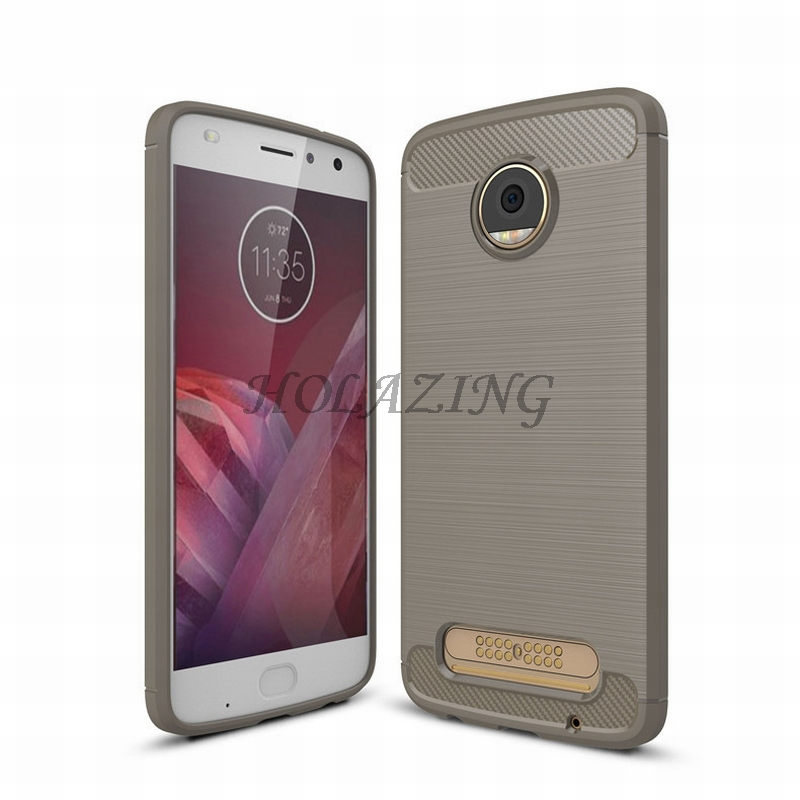 HOLAZING Glossy Spigen Rugged Soft Armor Case for Moto z2 play 5.5 Resilient Shock Absorption and Carbon Fiber Design Cover