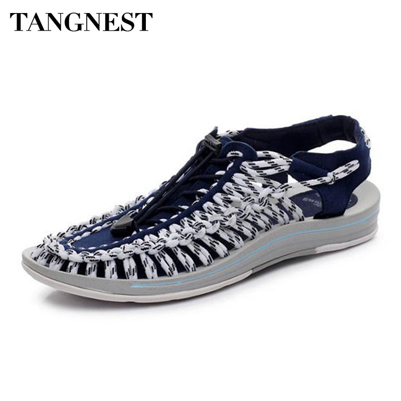 Tanngest Brand Mixed Color Men Sandals NEW Summer Closed-toe Gladiator Sandals For Men Elastic Band Fashion Beach Slippers