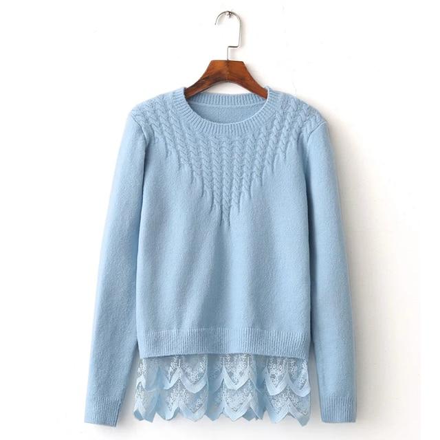 Korean Twist Sweater O Neck Long SLeeve Hem Lace Patchwork Basic Pullover Tops Jumper Women Sweaters YPWM646