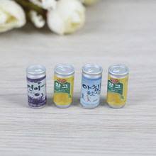 Dollhouse 1:12 Miniature Dollhouse Furniture 4* Drink Cans Decorations DIY Doll House Kitchen Accessories Cute Mini Cans(China)